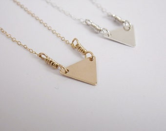 Triangle Necklace Gold or Silver