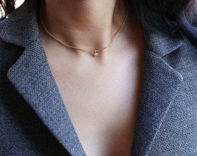 Minimalist CZ diamond necklace // Simple small Cubic Zirconia dangle short necklace // Elegant everyday necklace