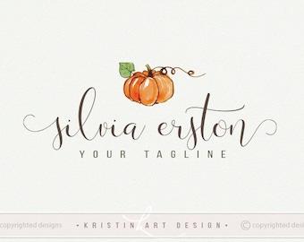 watercolor pumpkin logo photography logo design watercolor logo handdrawn pumpkin logo premade logo 517