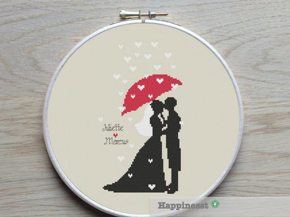 Wedding cross stitch pattern, bride and groom, just married, DIY ...
