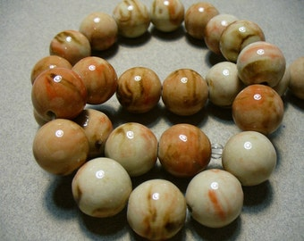 Porcelain BeadsTan and Rust Round 14mm