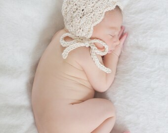 Crochet Baby Bonnet - Fan Stitch - Elegant Vintage Feminine Bonnet - CUSTOM OPTIONS AVAILABLE