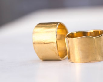 Cigar Band Ring, 14mm Wide, Extra Wide Gold Band, Matte Gold Ring, Wide Gold Ring Band, Organic Gold Ring, Greek Gold Band BND-G-MATTE-14MM