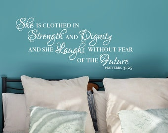 She Is Clothed In Strength And Dignity, Proverbs 31 25 Wall Decal, Religious  Wall