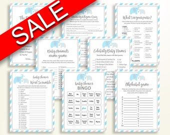 Games Baby Shower Games Elephant Baby Shower Games Blue Gray Baby Shower Elephant Games baby shower idea party décor printable instant C0U64
