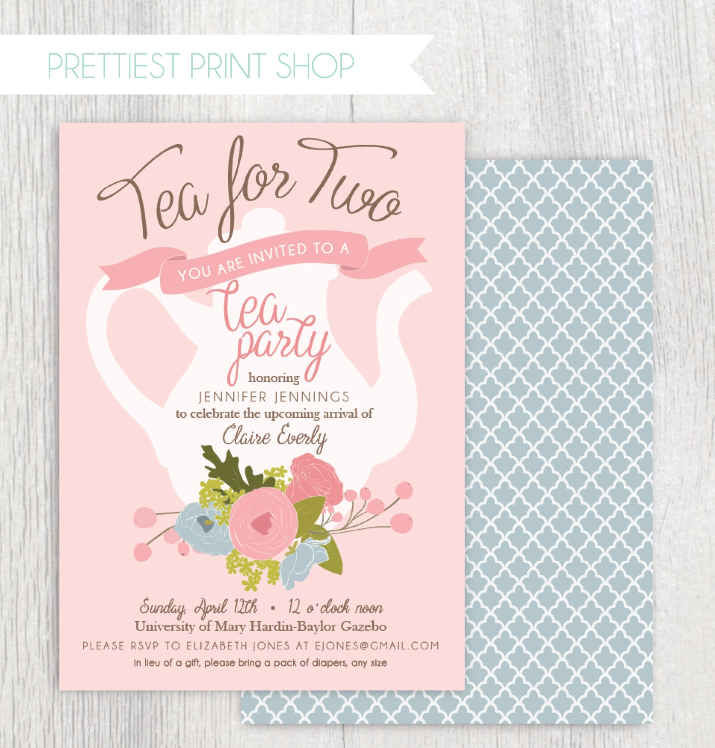 Printable tea party baby shower invitation tea pot floral zoom filmwisefo Image collections