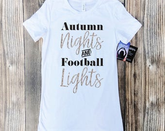 football mom shirts with bling, football mom shirts, bling football mom, Autumn nights and football lights, football tshirt, football shirt