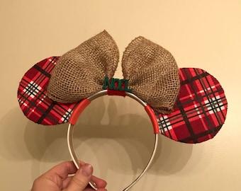 Rustic Plaid Burlap Bow Dizney Ears Headband