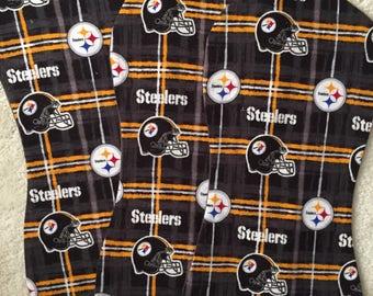 Pittsburg Steelers Burp Cloths, NFL Burp Cloths, Set of 3 burp cloths, Baby boy burp cloths