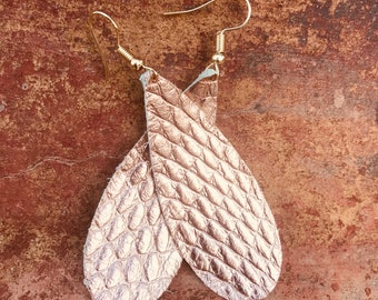 Rose Gold Leather Earrings - Long Teardrop