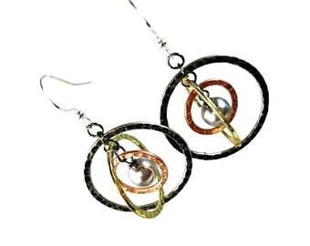 Mixed Metal Dangle Earrings, Planet Earrings, Gray Pearl, Modern, Loop Earrings, Space, Galaxy, Cosmic, Saturn, Handmade Artisan Jewelry