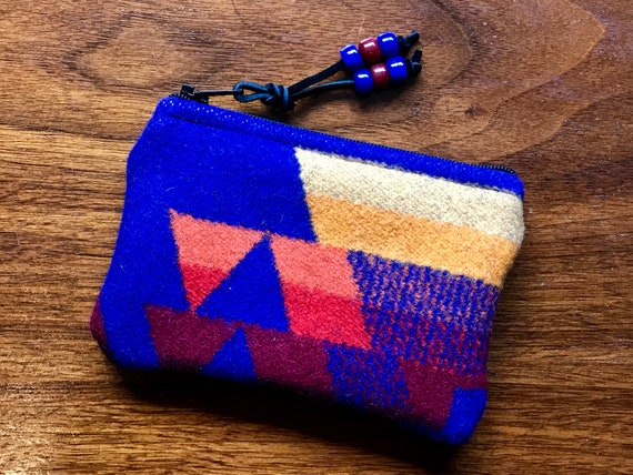 Wool Coin Purse / Phone Cord / Gift Card Holder / Zippered Pouch XL Sapphire Overall