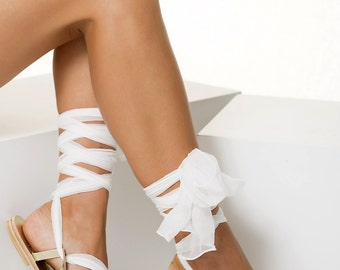 """Bridal Lace-Up Sandals with silk laces, Luxurious sandals, Custom Color """"Ophelia"""" NEW SS17"""