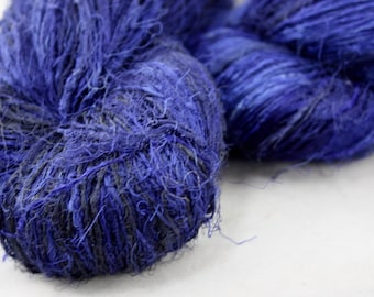 Handspun Recycled Mulberry Silk - Electric Blue