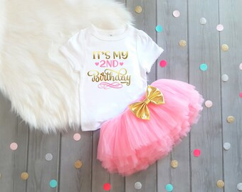 Second Birthday Shirt Second Birthday Outfit Girl Second Birthday Shirt Birthday Shirt 2 Girls Birthday Pink and Gold Birthday