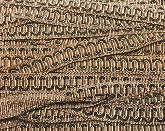 Vintage Two-Tone Brown Scroll Gimp 3 yards - Vintage Scroll Gimp Yardage C19