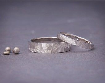 Solid 14K White Gold Textured Wedding Rings Set | Handmade faceted wedding bands Set | His&Hers faceted bands set 3mm, 4mm, 5mm, 6mm