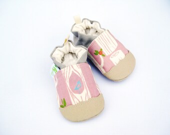 Organic Vegan Pink Trees with Tan/ non-slip soft sole baby shoes / Made to Order / Babies Toddler Preschool