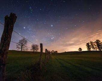 "star photography, West Virginia, night sky, starry night, unique photo, fine art: 11x16, 8x12, or 5x7 photograph, ""Light Meets Dark"""