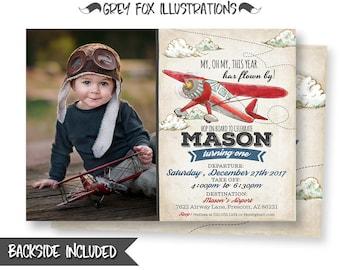 Airplane Picture Invitation, Plane Invitation, Vintage Plane Invitation, Airplane Invitation, Airplane Party, Birthday, Printables, Digital