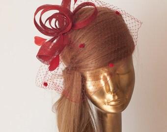 BIRDCAGE Veil RED FASCINATOR. Sinamay Bridal Fascinator with Veil