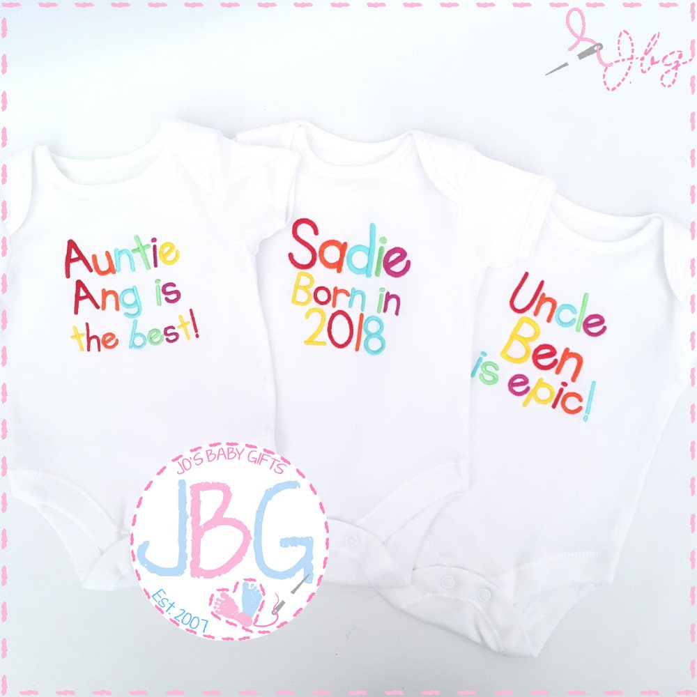 Personalised baby vestbodysuit rainbow embroidered text custom personalised baby vestbodysuit rainbow embroidered text custom baby clothes add any wording to this vest negle Choice Image