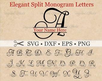Elegant Script SPLIT MONOGRAM Svg, Dxf, Eps, Png Files, Script Split Font Alphabet Digital, Silhouette, Split Monogram Svg, Cut Files,Cricut