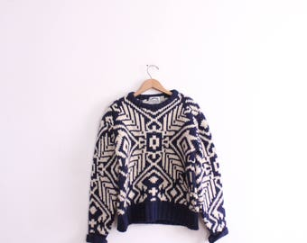 Graphic Chunky Wool Knit Sweater