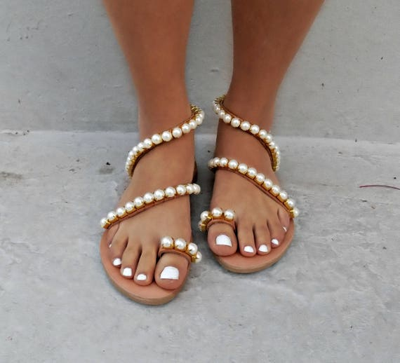 "sandals Summer Leather Sandals Wedding shoes sandals Luxury Beach Sandals Greek White Pearl pearl Bridal Wedding ""Jackie 8wq7x4Ad8"