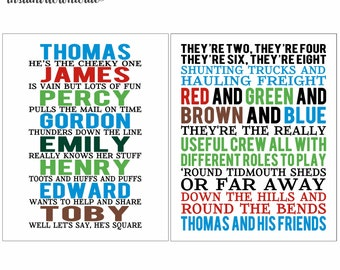 8x10 Thomas and Friends Song Words Wall Art digital- you print your own- INSTANT DOWNLOAD