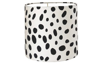 Black and White Drum Lampshade-Animal Print  Lamp Shade- Monochrome Lampshade-Custom Made-To-Order-Home Decor-Table Lamp