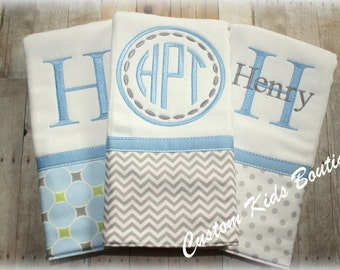 Blue and Gray Baby Boy Burp Cloth Gift Set- Set of 3 Custom Monogrammed Burp Cloths