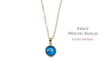 14KT GOLD Murano Glass Evil Eye Charm Necklace in 14KT Solid Yellow Gold