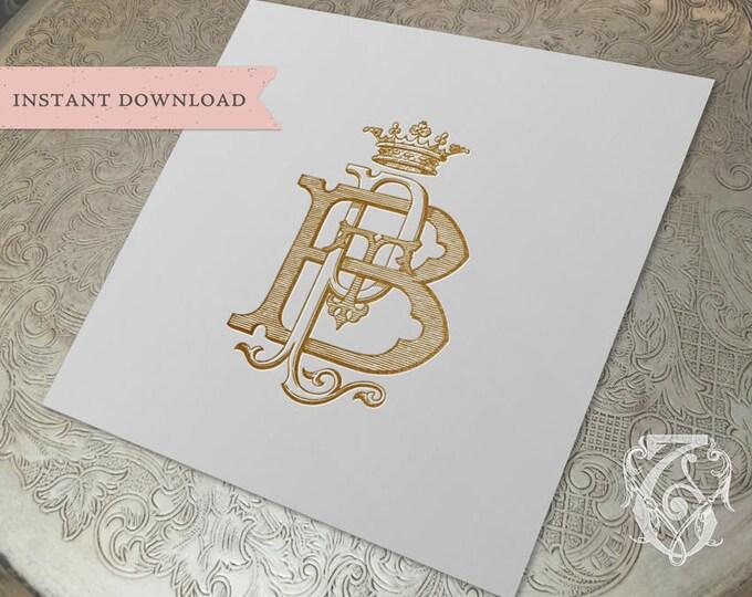3 Initial Vintage Crown Monogram PBT TPB BTP Three Letter Monogram Digital Download P B T