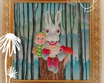 Painting on canvas, the White Rabbit and the Caterpillar for the tea. Pop surrealism.