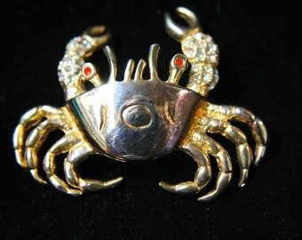 Vintage Rhinestone Encrusted Crab lapel Pin with Red Eyes !