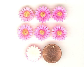 6 Vintage Celluloid Pink & Orange Daisy Flower Cabochons From Japan 16mm