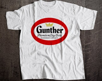Gunther Beer The Good Word T-Shirt | Ringspun Unisex and Ladies Fit Tee | Vintage Bar and Brewery Label Clothing