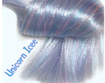 Nylon Doll Hair, Custom Color Blend, Unicorn Icee, Tress, Rerooting, opalescent tinsel