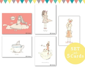 set of 5 cards - tea time