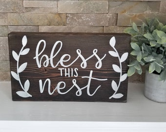 Bless This Nest   Wood Sign   Hand Painted   Home Decor  