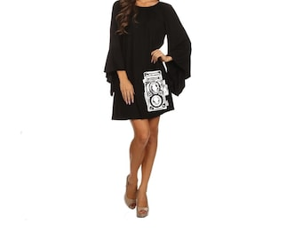 Black Camera Dress Women's Clothing Plus Size Dresses ruffled Mid Century design screen printed long sleeve clothing pin up 2XL 3XL sizes