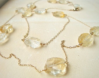 Citrine and Gold Long Necklace- musical scale