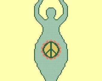 Peace Goddess Easy Cross Stitch Pattern PDF Digital Download