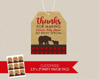 Plaid Mama Bear Baby Shower Personalized Thank You Favor Tags - Flannel , Woodsy , Northwoods , Lumberjack , Favor Tag