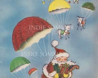 Digital download, Cute Santa Claus And Reindeer In Parachute, Vintage Christmas Greeting Card, Instant download