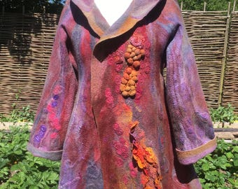 OOAK Nuno-Felted Ladies Hooded Coat - In The Embers