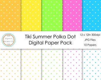 Tiki Summer Polka Dot Digital Paper Pack | Digital Paper, Scrapbook Paper, Printable Paper, Digital Scrapbook | Instant Download
