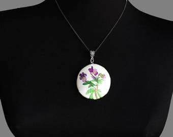 Hand painted silk pendant with violet flower. Violet jewelry. Violet flower pendant. Botanical jewelry. Ready to ship.