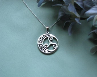 Sterling Silver Celtic Triple-Spiral Design Pendant with Sterling Silver Chain
